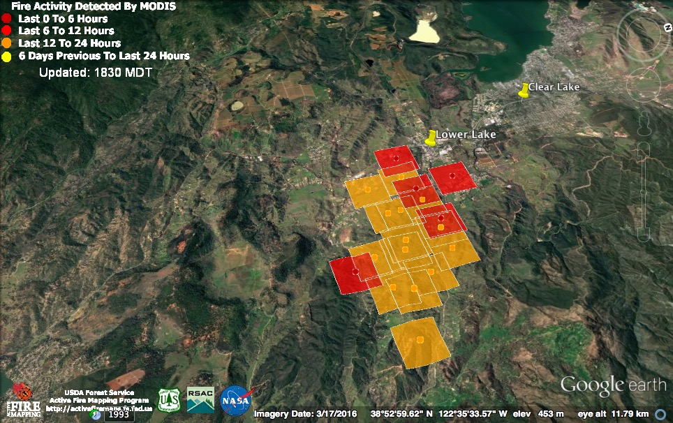 The 2 30 Pm Satellite Pass Found The Clayton Fire Poised On The Outskirts Of Lower Lake It Has Since Overrun The Town With Many Homes And Historic